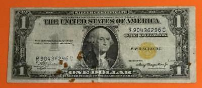 """1935A $1 US """"GOLD"""" Seal North Africa SILVER Certificate World WAr II NOte! X296"""