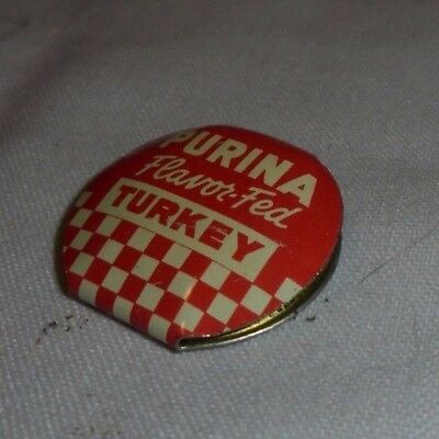 Vintage PURINA Flavor-Fed TURKEY Advertising Miniature Clip Button Pin Metal