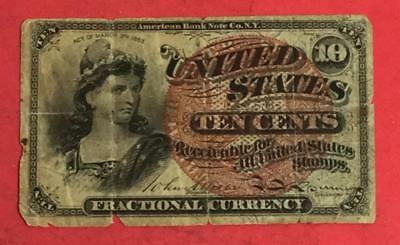 """1869 US Fractional Currency """"LADY LIBERTY"""" """"TEN CENTS"""" Rough! Old Currency"""