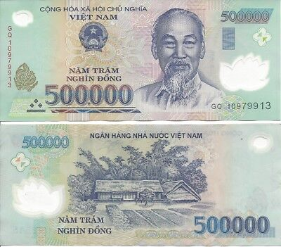 Lot-5 Vietnam 500,000 Dong VND Polymer Banknotes (2.5 mill total) UNCIRCULATED