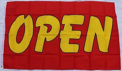 OPEN Sign Flag (Yellow Word on Red) for Shop/Store/Cafe/Business HUGE 3x5ft