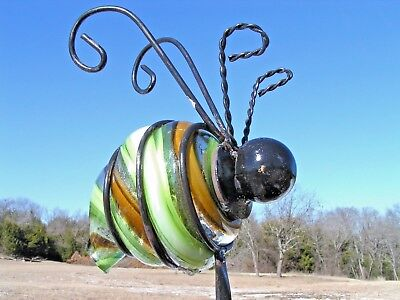 LARGE HAND BLOWN Green glass Bumble Bee Garden stake 0092