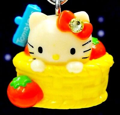 Hello Kitty X Hokkaido Tomatoes Basket Swarovski Elements Crystal Japan Charm