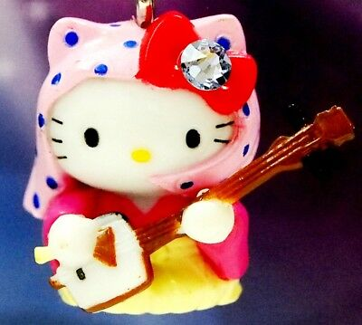 Hello Kitty X Tsugaru Shamisen Swarovski Elements Crystals Japan Charm Pendant