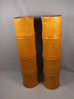 """Pair of Large 15"""" Solid Wood Candlesticks Holders - Hand Turned Bamboo Shape"""
