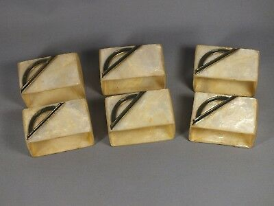 6 x Vintage Capiz Shell Napkin Rings From the Phillipines - Art Deco Detail