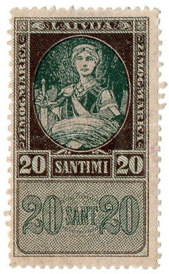 (I.B) Latvia Revenue : Duty Stamp 20s