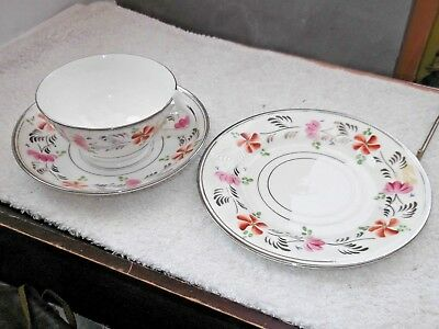 Sampson Smith Old Royal China Trio, Cup,saucer, Side Plate With Floral Pattern