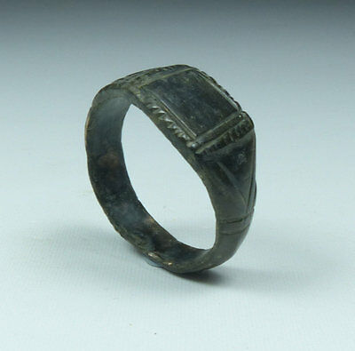 Ancient Medieval Bronze Ring 15Th Century Ad