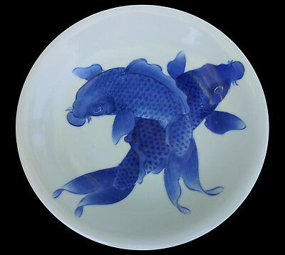 Antique Japanese Porcelain Hirado Blue And White Seto Koi Carp Pond Plate
