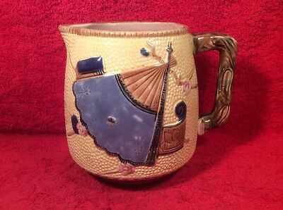 Antique Victorian English Majolica Fan, Scroll & Bug Pitcher c1800's, em56
