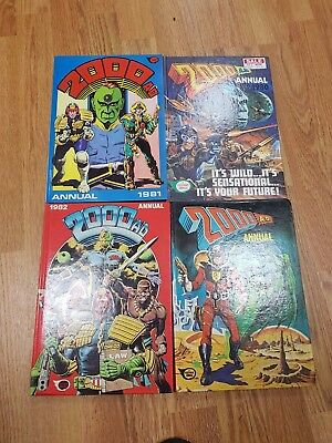2000 AD Annuals X 4 1978,1980,1981 and 1982 Fair condition for age