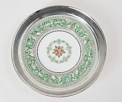 Antique Sterling Silver Hand Painted Wedgewood Dessert Plate 1877