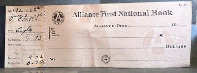 Vintage 1940 Blank Alliance Ohio First National Bank Checks + Leather cover