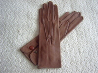 : Vintage Ladies Gloves - Real Nappa Leather - Stud Fastening - Size 6.25 - [C]