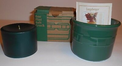 Longaberger One Pint Salt Crock Ivy With Pine Pillar Candle NOS 2001