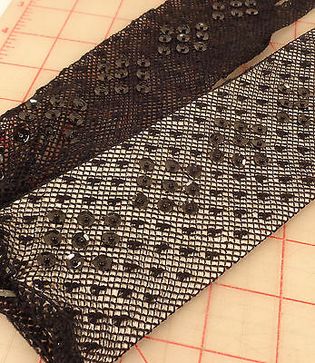 Beautiful High Qality Black Stretch Fishnet Lace Gloves Sequins Beads mid length