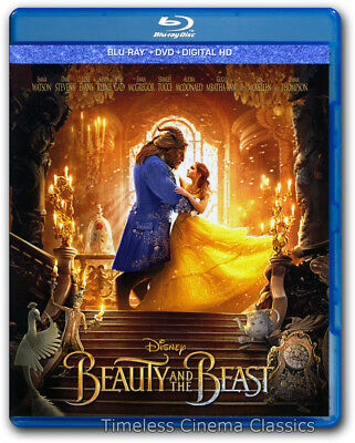 Beauty and the Beast Blu ray/DVD/Digital New Emma Watson with Slipcover