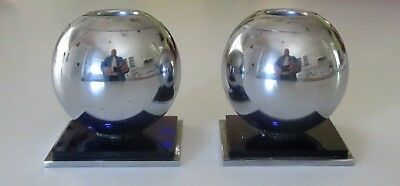 Vintage 1930's Art Deco Chase Chrome And Cobalt Blue Ball Sphere Candle Holders