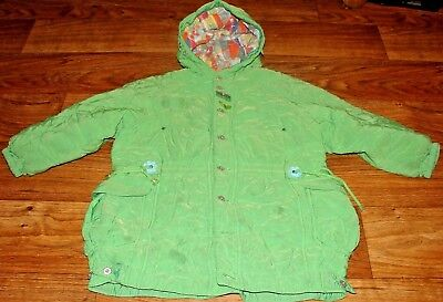 Oilily Little Girls Size 5/6 Gorgeous Green Quilted Winter Coat With Hood