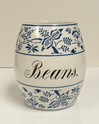 Large Antique German Pottery ~Blue Onion~ Storage Jar Beans Cannister