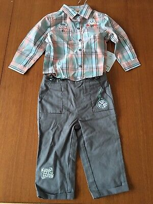 DISNEY baby ALICE IN WONDERLAND Shirt & Trousers With Braces 12-18 Months BNWT