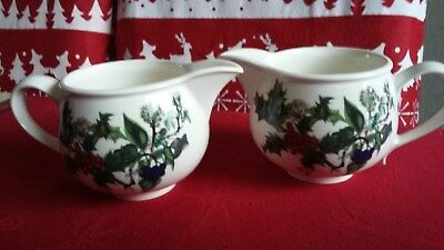 Pair of Portmeirion Holly & Ivy  Sauce / Milk Jugs..NEW AND UNUSED
