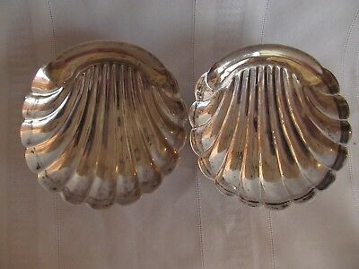 Vintage Mexican Sterling Silver Small Footed Shell Dishes Set Of 2 Marked 925 Rn
