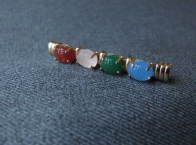 Antique Egyptian Revival Glass Scarabs & Pearly Beads Golden Metal Pin