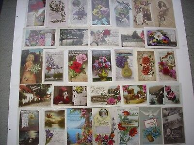 COLLECTION 100 VINTAGE BIRTHDAY GREETINGS POSTCARDS. EARLY 1900's