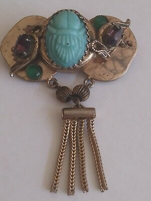 Vintage Egyptian Revival Turquoise Scarab Beetle Gold Dangle Birds Brooch Pin