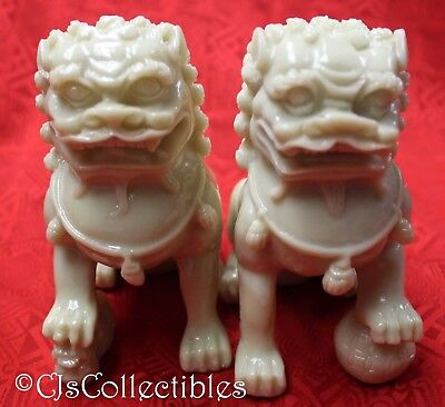 "Fu Dog Temple Lions Protection Pair Statues White Foo Dogs 4"" ∫42145"