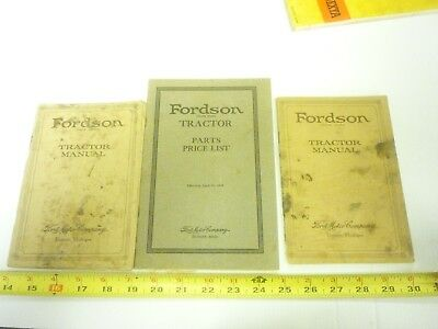 3 Old Fordson Tractor Manual & Parts Lists