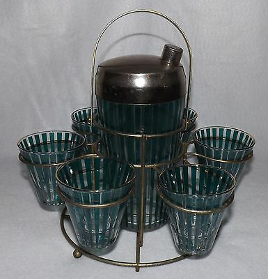 Vintage Mid Century Teal Green Striped Retro Cocktail Shaker Bar Set w/ Caddy