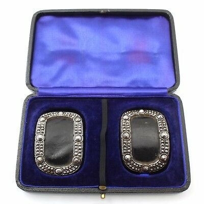 Boxed Pair of Quality Bright Cut Steel Shoe Buckles ca 1850