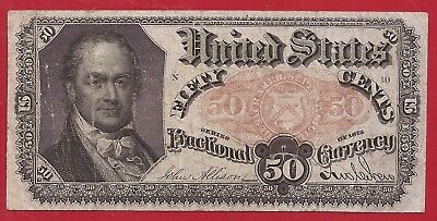 1874-1876 5th Issue 50¢ Fractional Currency,FR.1381,Crawford Bust,Fine,Nice!