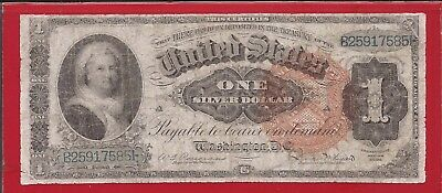 1886 $1 Silver Certificate Martha,FR 217,No Pinholes,Large Red Seal,Fine,Nice!