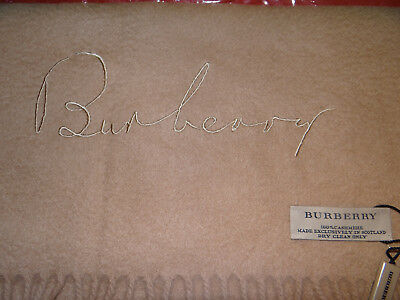 NWT - Burberry Solid Embroidered Logo 100% Cashmere Scarf