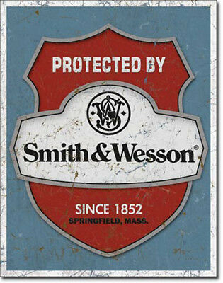 Smith Wesson Sign Protected Shield Warning Vintage Metal Advertising Tin New USA