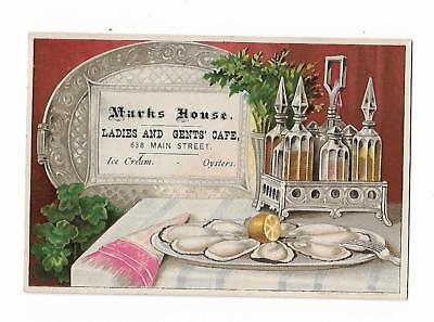 Old Trade Card Marks House Ladies Gents Cafe Ice Cream Oyster Plate Liquor