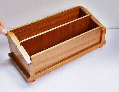 Wonderful Vintage Chunky Wooden Desk / Letter Tidy with Removable Sections. Deco