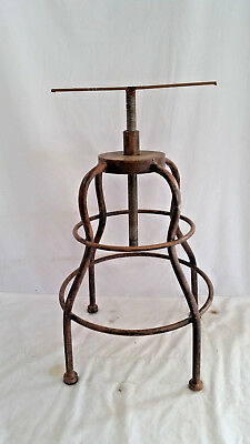 """Vintage Heavy Duty Metal Stool Base, No Seat,Adjustable 23"""" to 34"""" tall"""