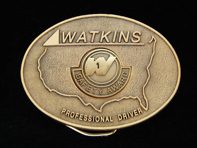 OE05125 *NOS* VINTAGE 1970s **WATKINS PROFESSIONAL DRIVER** SOLID BRASS BUCKLE