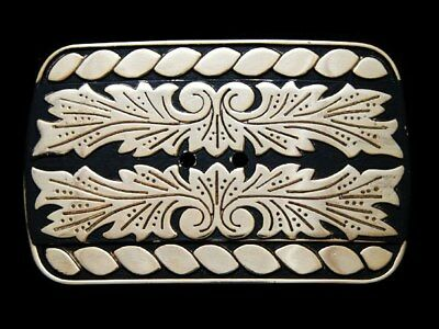KC15118 VINTAGE 1970s WESTERN STYLE *FLORAL DECOR* BELT BUCKLE