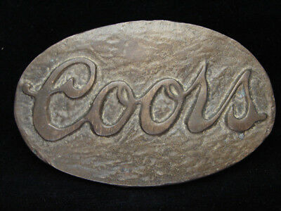 OB15141 VINTAGE 1970s **COORS** BEER BREWING COMPANY SOLID BRASS BELT BUCKLE