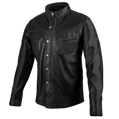 Speed & Strength Killswitch Mens Long Sleeve Leather Shirt Black