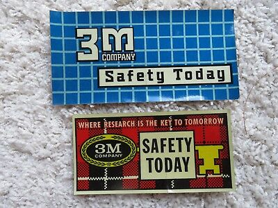 PAIR c 1960 3M MINNESOTA MINING & MANUFACTURING SAFETY TODAY REFLECTIVE STICKERS