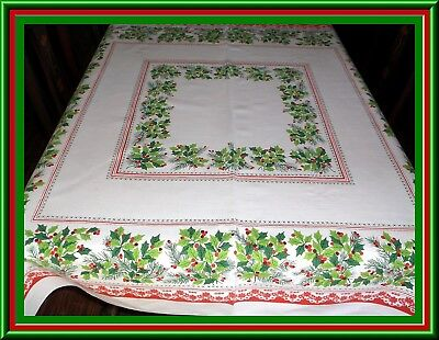 Lovely Vintage Christmas Holiday Print Tablecloth With Holly Design