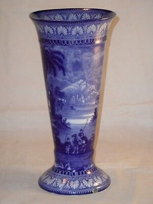 Tall Maling Pottery Blue & White Egypt Pattern Trumpet Shape Vase c1900s? A/F