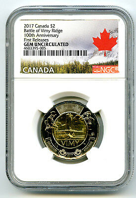 2017 Canada $2 Ngc Gem Unc Battle Of Vimy Ridge 100Th Ann First Releases Toonie
